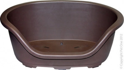 PET ONE PLASTIC OVAL BED 67CM (CHOCOLATE)