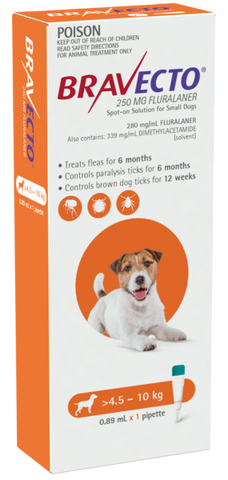 Bravecto Spot On for Small Dogs >4.5 - 10kg