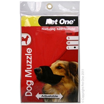 Pet One Muzzle Nylon Adjustable Black Large