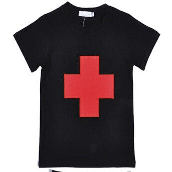 Black Tee with red cross