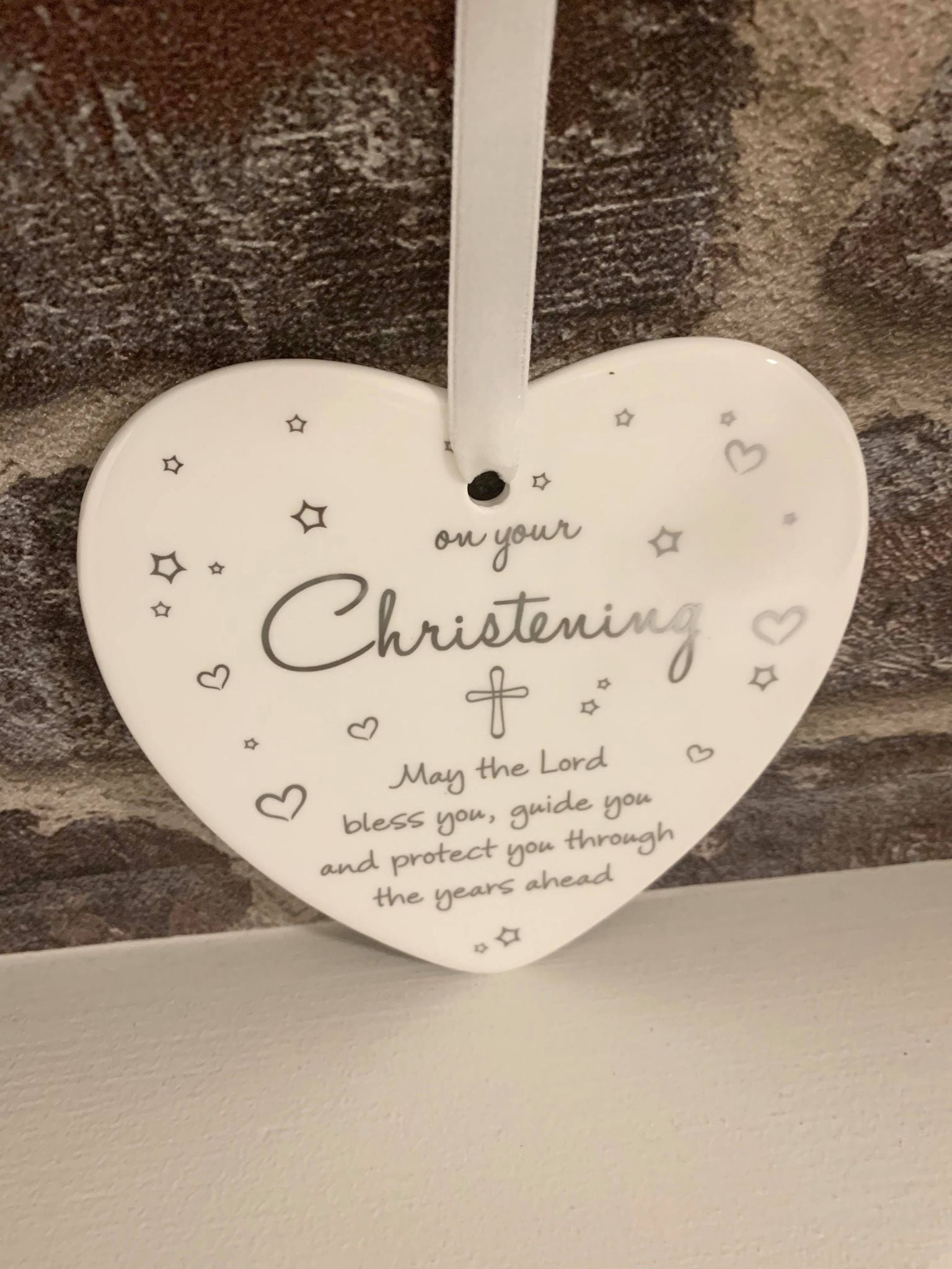 Christening heart plaque