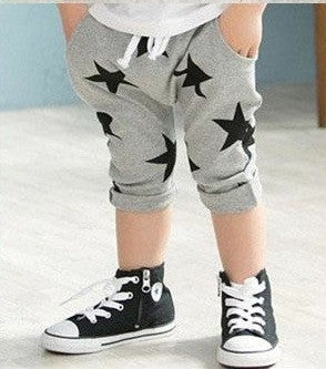 Harem 3/4 pants grey/black stars
