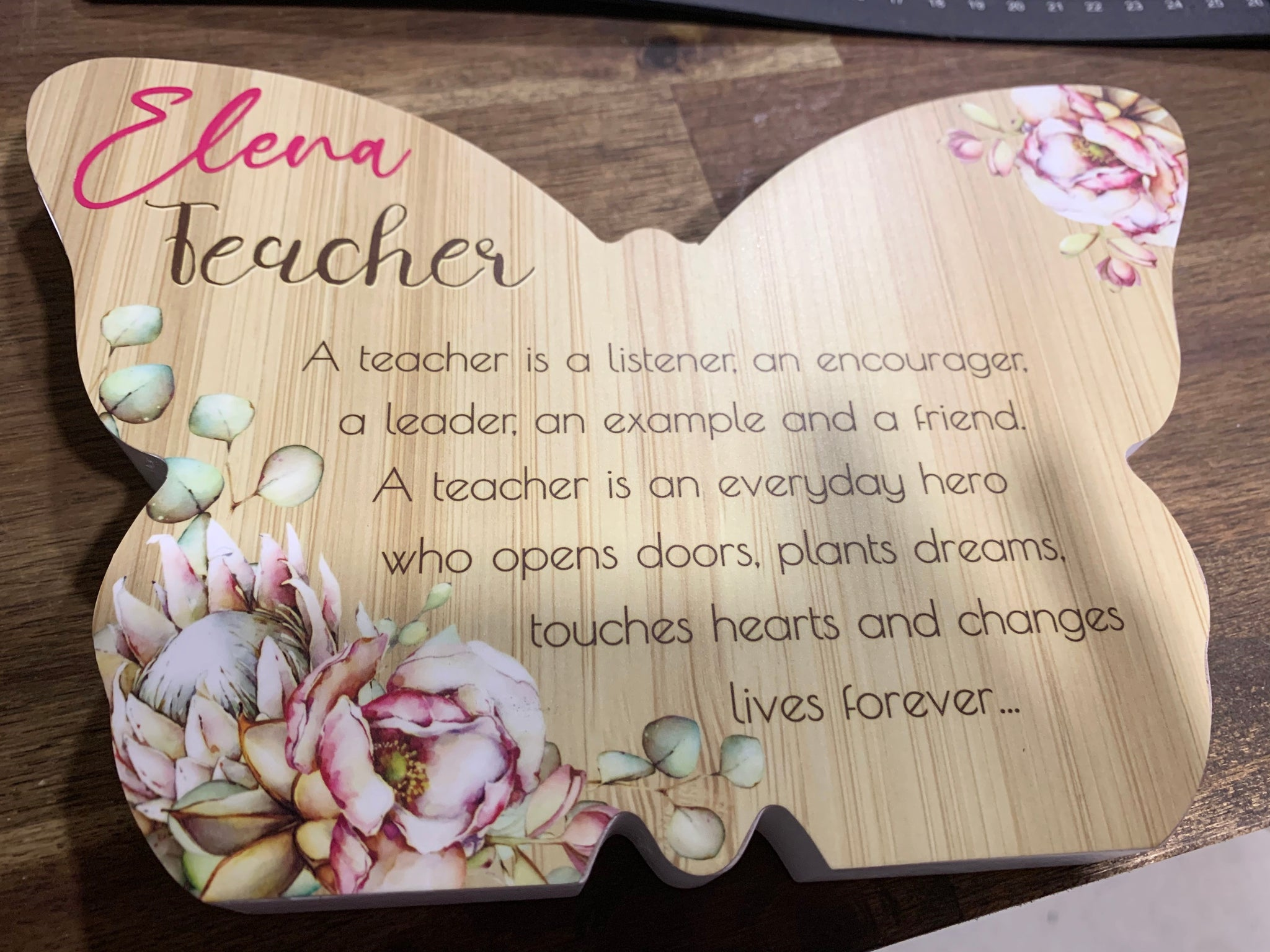 Butterfly teacher plaque
