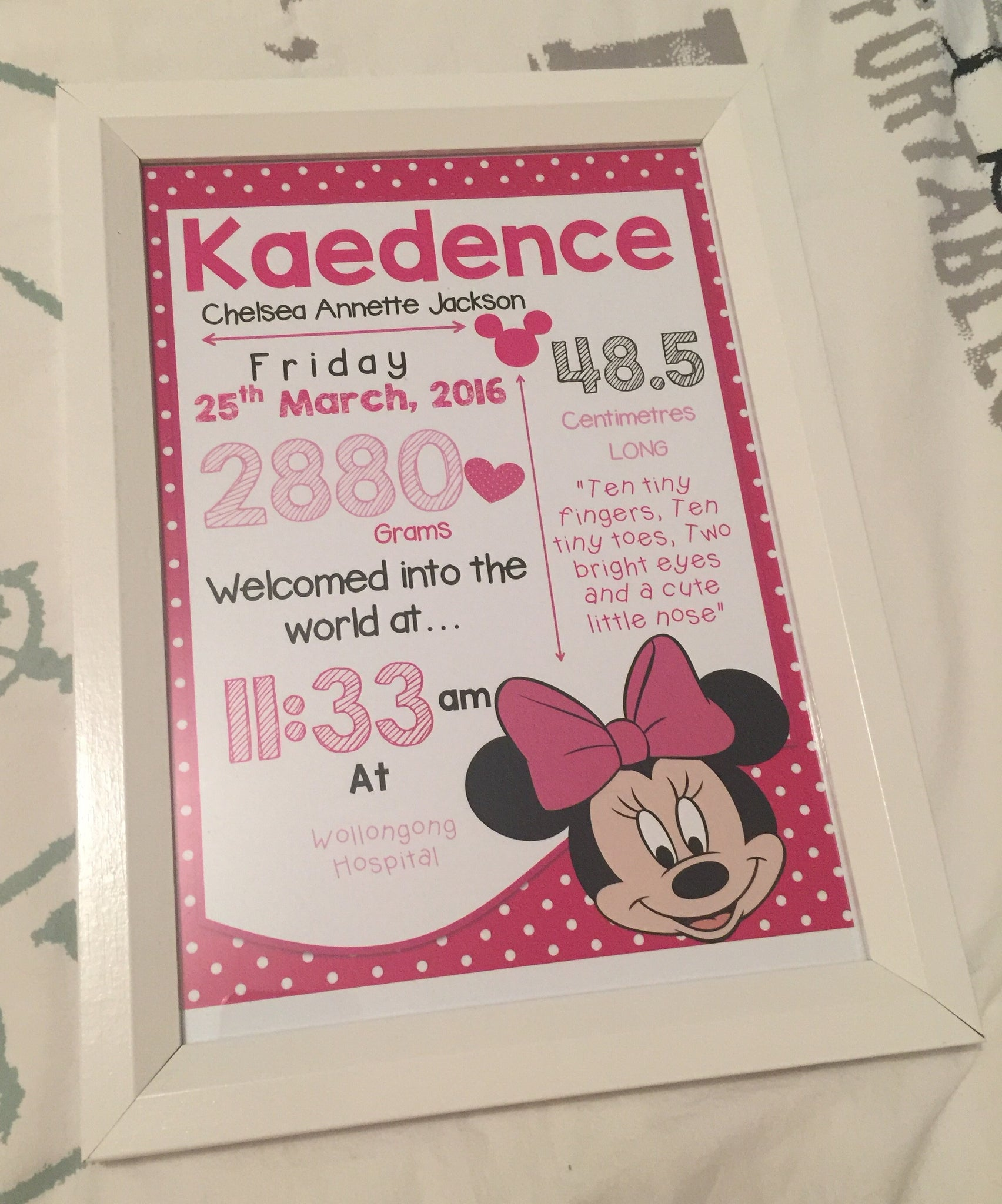 Personalised birth print Framed