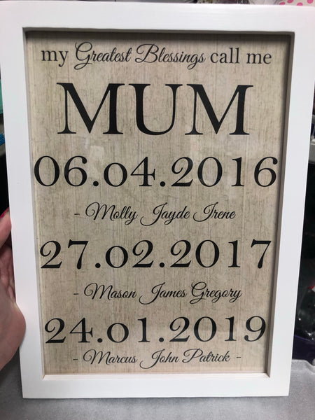 Blessings mum print + frame