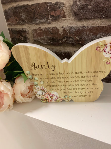 Butterfly aunty plaque