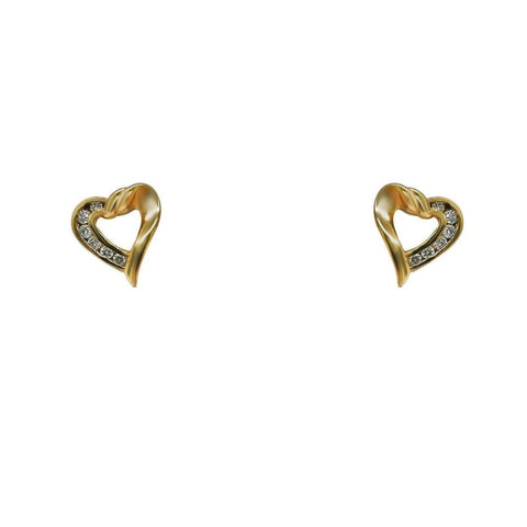Earrings $299.99 0.25 Carat Heart Shaped Pave Setting 14K Yellow Gold Diamond Stud Earrings Heart Stud Yg