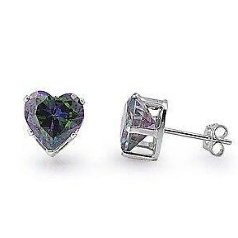 Image of Earrings $17.62 1.5 Carat Rainbow Topaz CZ Heart Earrings in 7mm Sterling Silver cubic-zirconia cz earrings heart heart-shaped