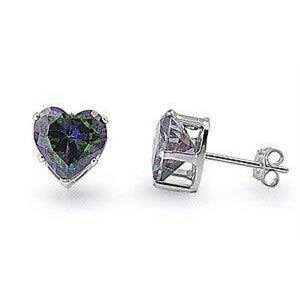 1.5 Carat Rainbow Topaz CZ Heart Earrings in 7mm Sterling Silver