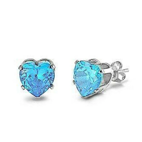 Earrings $17.62 1.5 Carats Aquamarine Blue CZ Heart Stud Earrings in 7mm Sterling Silver aquamarine blue cubic-zirconia cz earrings