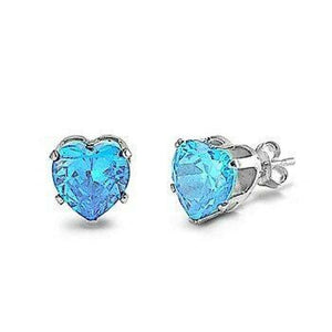 1.5 Carats Aquamarine Blue CZ Heart Stud Earrings in 7mm Sterling Silver