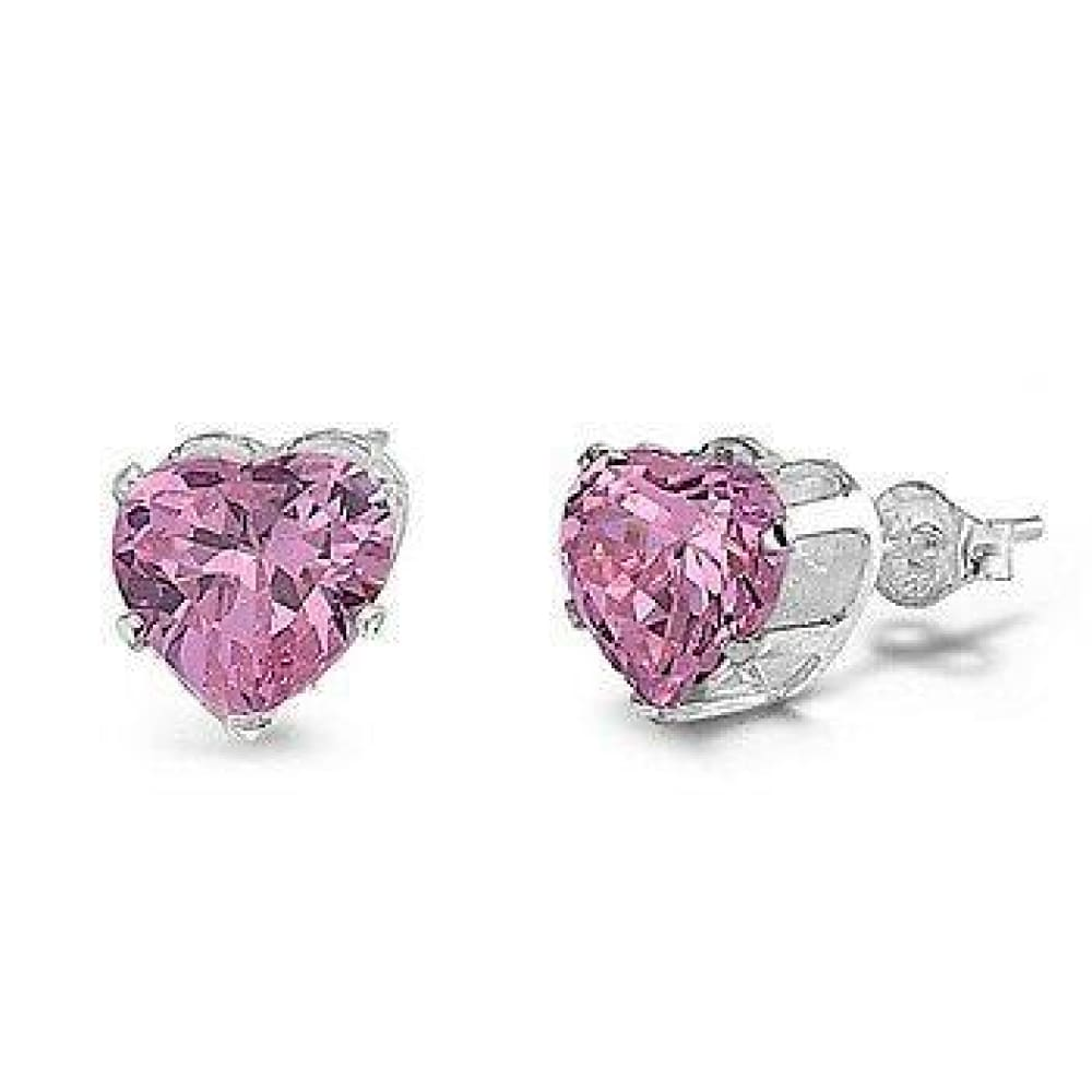 Earrings $17.62 1.5 Carats Pink CZ Heart Stud Earrings in 7mm Sterling Silver cubic-zirconia cz earrings heart pink