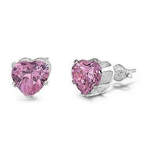Image of Earrings $17.62 1.5 Carats Pink CZ Heart Stud Earrings in 7mm Sterling Silver cubic-zirconia cz earrings heart heart-shaped