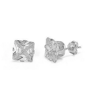 Earrings $13839.00 1.5 Carats Princess Cut Clear CZ Stud in 7mm Sterling Silver Earrings clear cubic-zirconia cz earrings over-500