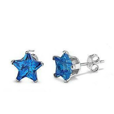 Earrings $17.62 1.5 Carats Sapphire Blue CZ Star Stud Earrings in 7mm Sterling Silver blue cubic-zirconia cz earrings sapphire