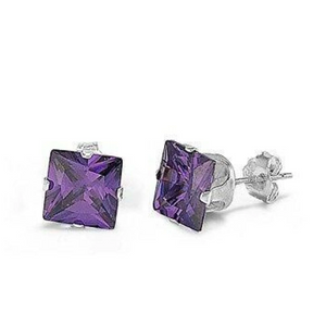 Earrings $14.68 1 Carat Amethyst CZ Square in 6mm Sterling Silver Stud Earrings amethyst cubic-zirconia cz earrings size-sterling-silver