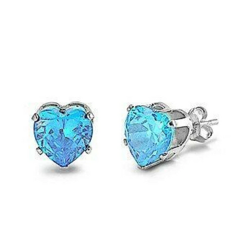 Earrings $15.73 1 Carat Aquamarine Blue CZ Heart Stud Earrings in 6mm Sterling Silver aquamarine blue cubic-zirconia cz earrings
