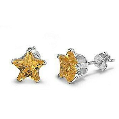 Earrings $15.73 1 Carat Citrine Yellow CZ Star Stud Earrings in 6mm Sterling Silver cubic-zirconia cz earrings size-sterling-silver star