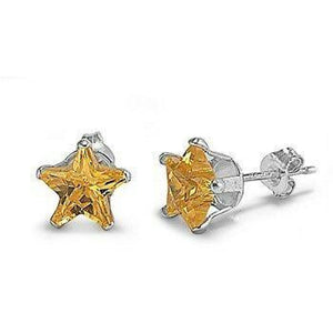 1 Carat Citrine Yellow CZ Star Stud Earrings in 6mm Sterling Silver