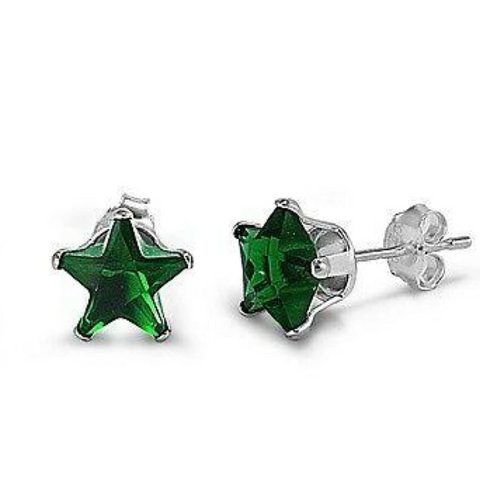 Earrings $15.73 1 Carat Emerald Green CZ Star Stud Earrings in 6mm Sterling Silver cubic-zirconia cz earrings emerald green