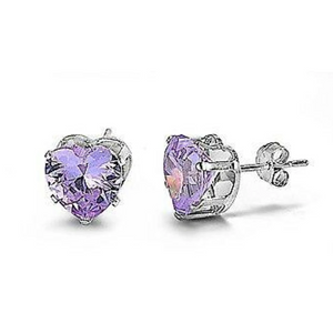 Earrings $15.73 1 Carat Lavender CZ Heart Stud Earrings in 6mm Sterling Silver cubic-zirconia cz earrings heart heart-shaped