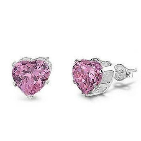 Earrings $15.73 1 Carat Pink CZ Heart Stud Earrings in 6mm Sterling Silver cubic-zirconia cz earrings heart heart-shaped