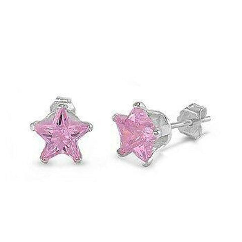 Earrings $15.73 1 Carat Pink CZ Star Stud Earrings in 6mm Sterling Silver cubic-zirconia cz earrings pink star