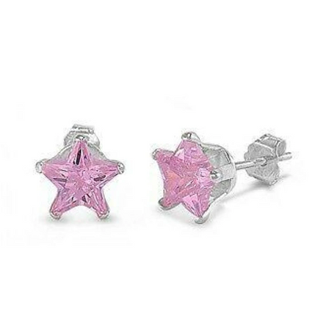 Image of Earrings $15.73 1 Carat Pink CZ Star Stud Earrings in 6mm Sterling Silver cubic-zirconia cz earrings pink size-sterling-silver