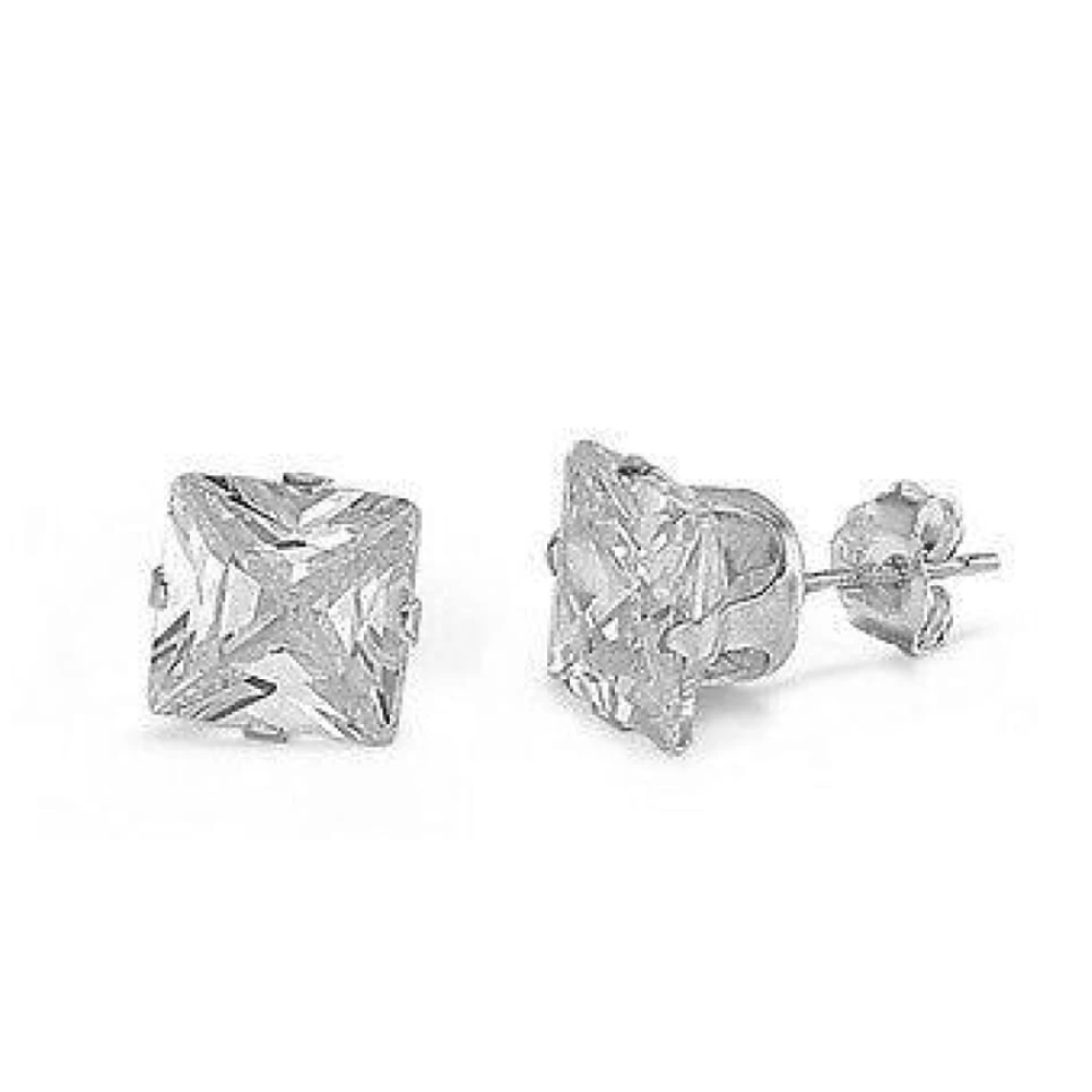 Earrings $12369.00 1 Carat Princess Cut Clear CZ Stud in 6mm Sterling Silver Earrings clear cubic-zirconia cz earrings over-500
