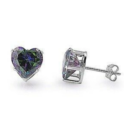 Earrings $15.73 1 Carat Rainbow Topaz CZ Heart Earrings in 6mm Sterling Silver cubic-zirconia cz earrings heart heart-shaped
