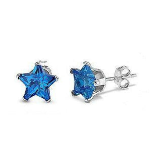 1 Carat Sapphire Blue CZ Star Stud Earrings in 6mm Sterling Silver