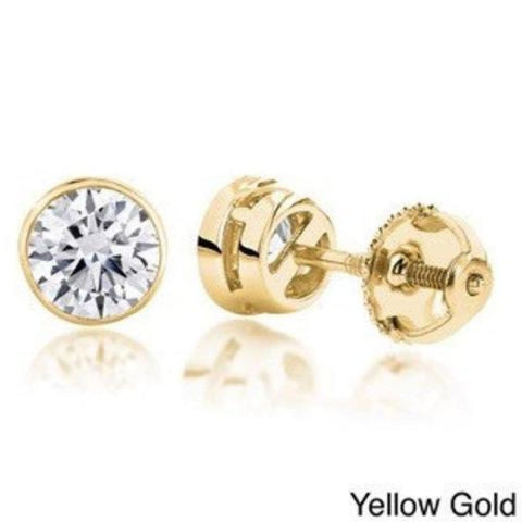 Image of Earrings $999.99 1/2 Carat Diamond Bezel Earrings - Si G/h 14K White Rose Or Yellow Gold By Luxinelle Bezel Rg Stud Yg