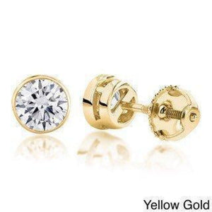 1/2 Carat Diamond Bezel Earrings - SI G/H 14K White, Rose or Yellow Gold