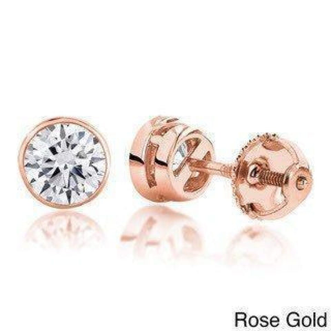Image of Earrings $999.99 1/2 Carat Diamond Bezel Earrings - Si G/h 14K White Rose Or Yellow Gold Bezel Rg Stud Yg