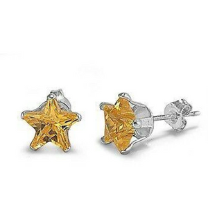 Earrings $12.58 1/3 Carat Citrine Yellow CZ Star Stud Earrings in 4mm Sterling Silver cubic-zirconia cz earrings size-sterling-silver star