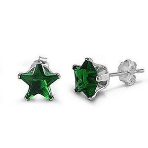 1/3 Carat Emerald Green CZ Star Stud Earrings in 4mm Sterling Silver