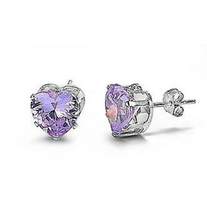 Earrings $12.58 1/3 Carat Lavender CZ Heart Stud Earrings in 4mm Sterling Silver cubic-zirconia cz earrings heart heart-shaped