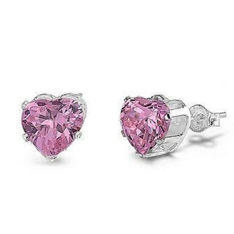 Earrings $12.58 1/3 Carat Pink CZ Heart Stud Earrings in 4mm Sterling Silver cubic-zirconia cz earrings heart heart-shaped