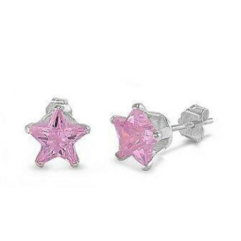 Image of Earrings $12.58 1/3 Carat Pink CZ Star Stud Earrings in 4mm Sterling Silver cubic-zirconia cz earrings pink size-sterling-silver