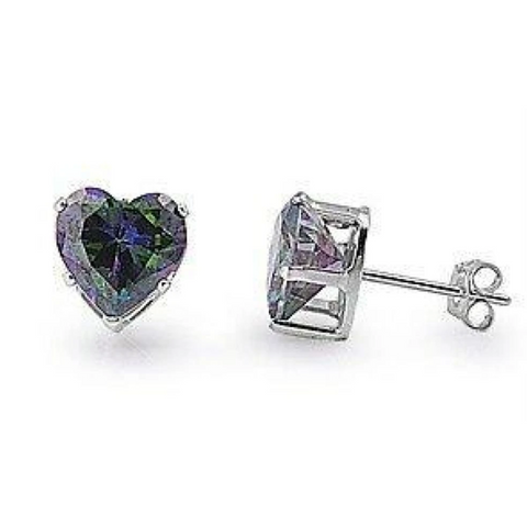 Earrings $12.58 1/3 Carat Rainbow Topaz CZ Heart Earrings in 4mm Sterling Silver cubic-zirconia cz earrings heart heart-shaped