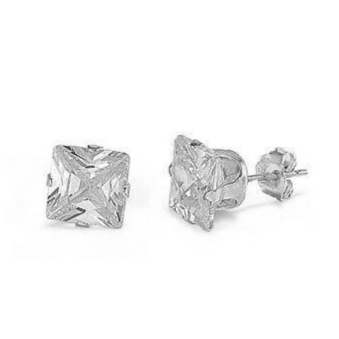 Earrings $10269.00 1/4 Carat Princess Cut Clear CZ Stud in 3mm Sterling Silver Earrings clear cubic-zirconia cz earrings over-500