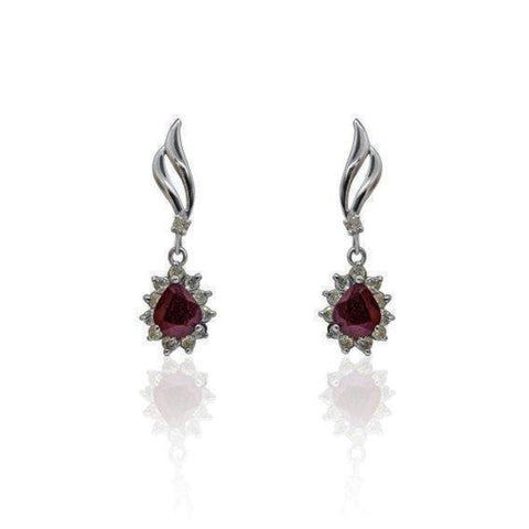Earrings $599.99 2.89 Carat Ruby And Diamond 14K White Gold Earrings Drop Halo Pear Red