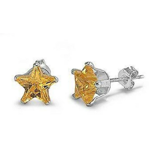 Image of Earrings $18.46 2 Carats Citrine Yellow CZ Star Stud Earrings in 8mm Sterling Silver cubic-zirconia cz earrings size-sterling-silver star