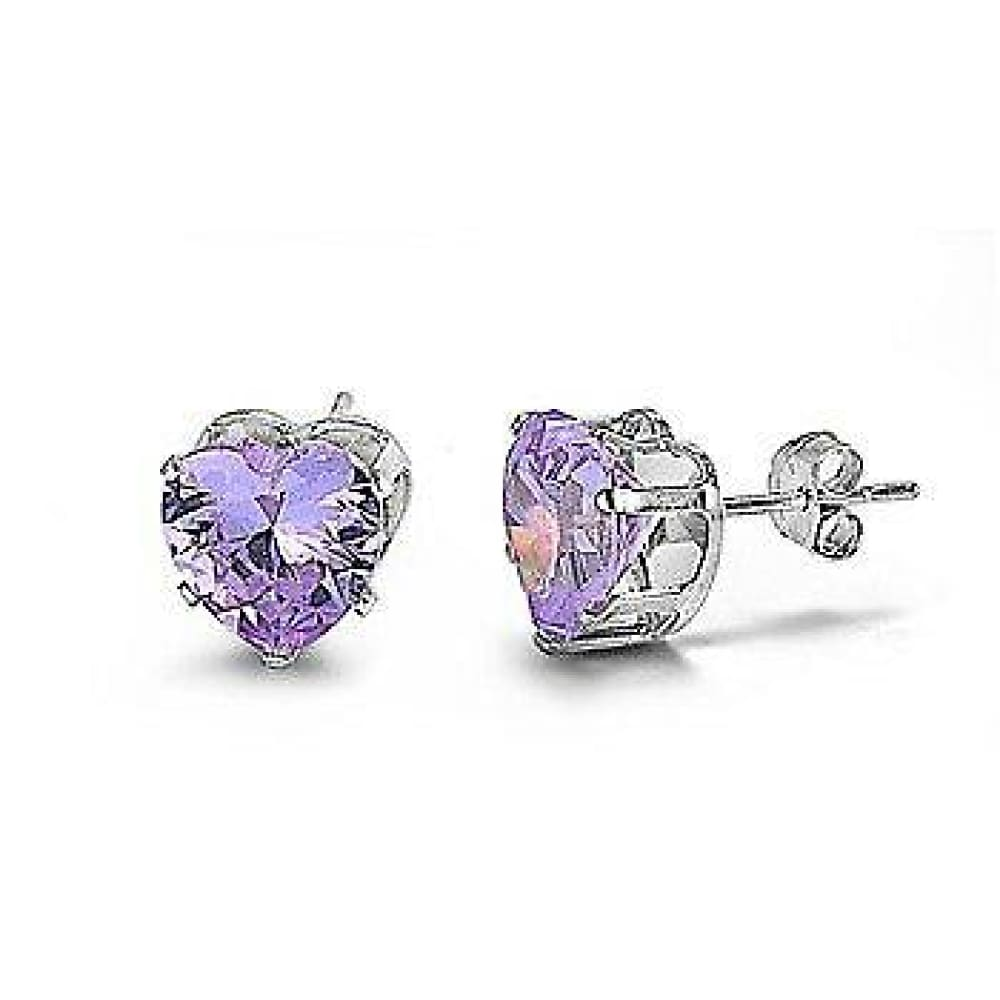 Earrings $18.46 2 Carats Lavender CZ Heart Stud Earrings in 8mm Sterling Silver cubic-zirconia cz earrings heart lavender