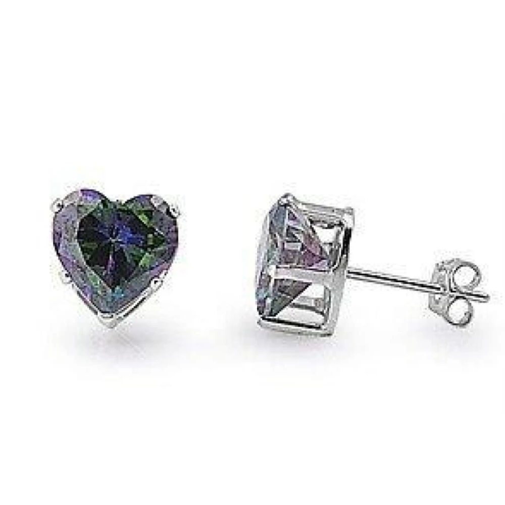Earrings $18.46 2 Carats Rainbow Topaz CZ Heart Earrings in 8mm Sterling Silver cubic-zirconia cz earrings heart heart-shaped