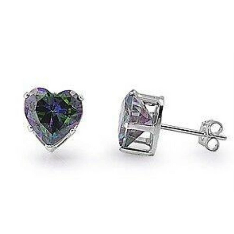 Image of Earrings $18.46 2 Carats Rainbow Topaz CZ Heart Earrings in 8mm Sterling Silver cubic-zirconia cz earrings heart heart-shaped