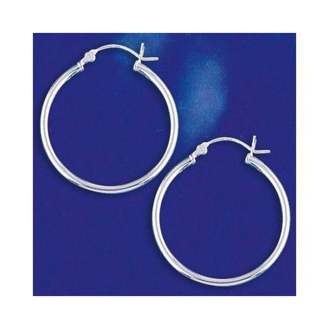 Image of Earrings $25.18 28mm Hinged Hoop Earrings with 1.7mm Tubing in Sterling Silver 28mm circle earrings hinged hoops