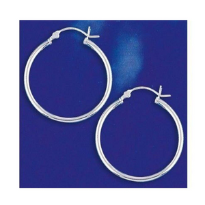 Earrings $25.18 28mm Hinged Hoop Earrings with 1.7mm Tubing in Sterling Silver 25-50 28mm circle earrings hinged