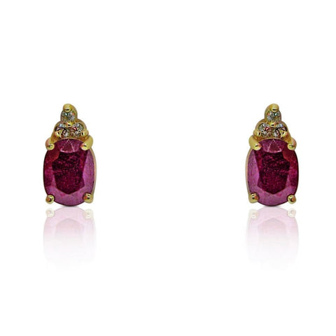 Earrings $299.99 3.83 Carat Red Ruby Earrings With 3 Diamond Crown Stud Earrings In 14K Yellow Gold Oval Red Yg