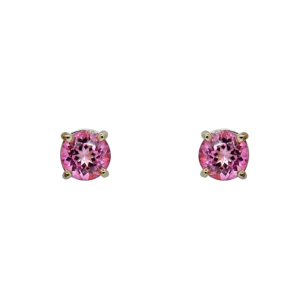 Earrings $199.99 3.86 Carat Pink Topaz Stud Earrings In 4 Prong 14K White Gold Pink Stud